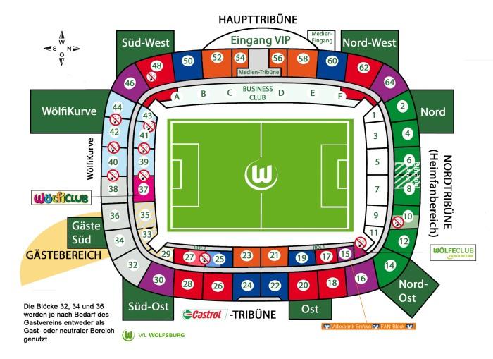 Denah stadion Volkswagen Arena Wolfsburg