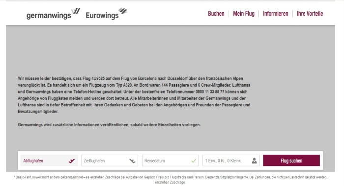 Halaman utama website Germanwings